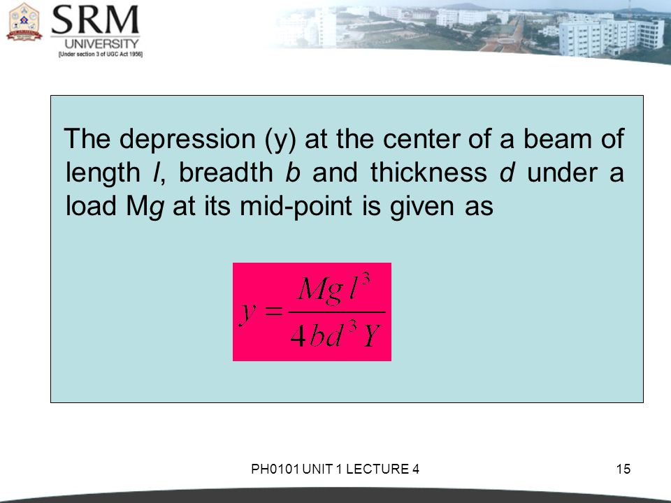 The depression (y) at the center of a beam of length l, breadth b and thickness d under a load Mg at its mid-point is given as