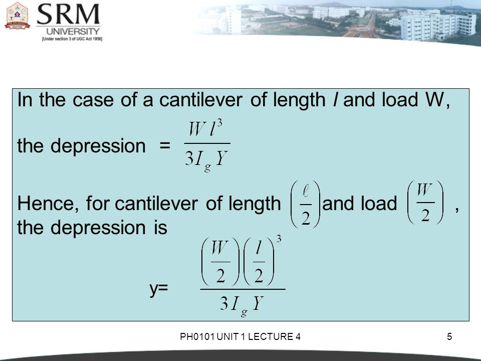 In the case of a cantilever of length l and load W, the depression =