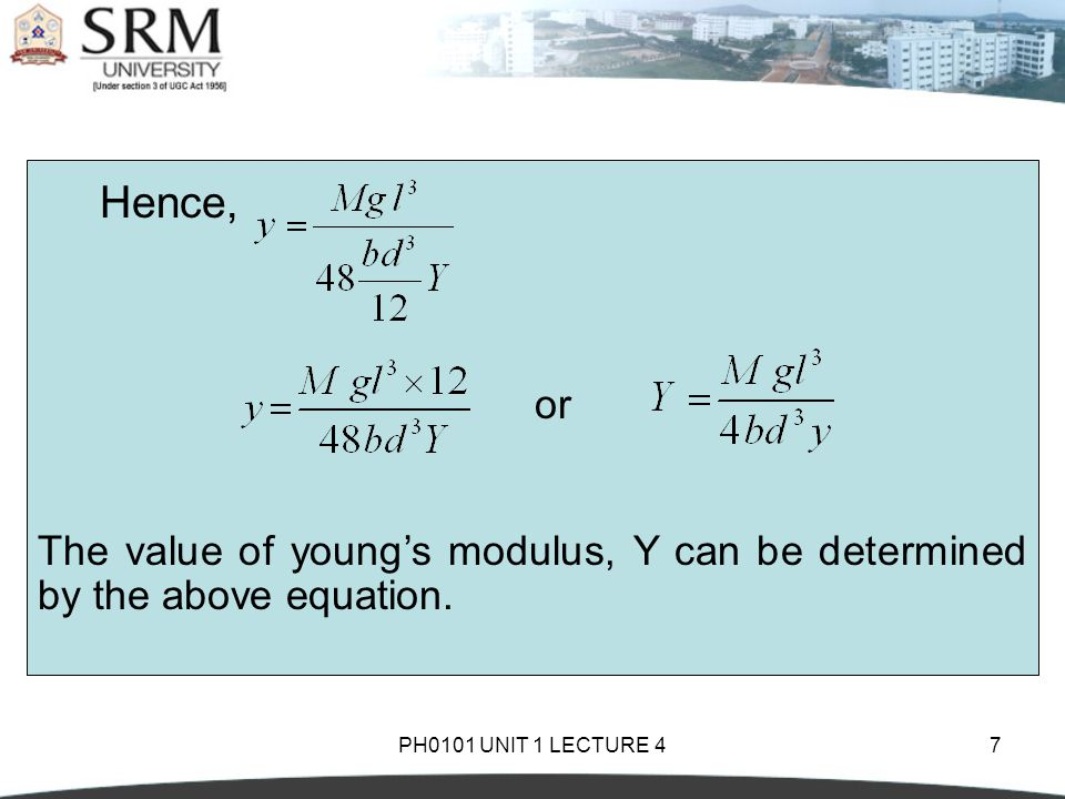 Hence, or. The value of young's modulus, Y can be determined by the above equation.