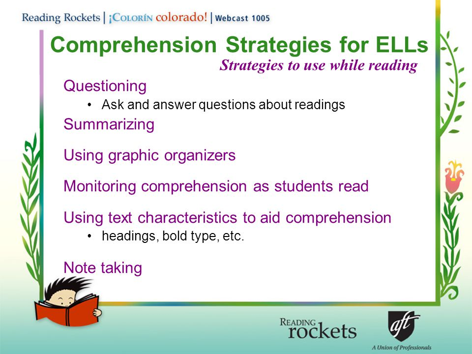 Comprehension Strategies for ELLs