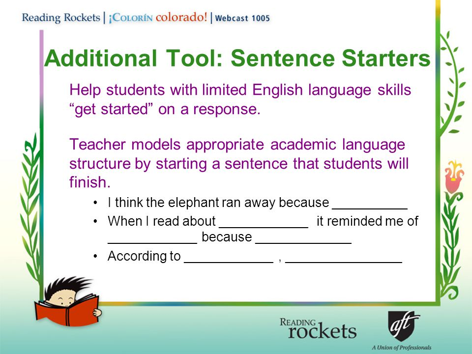 Additional Tool: Sentence Starters
