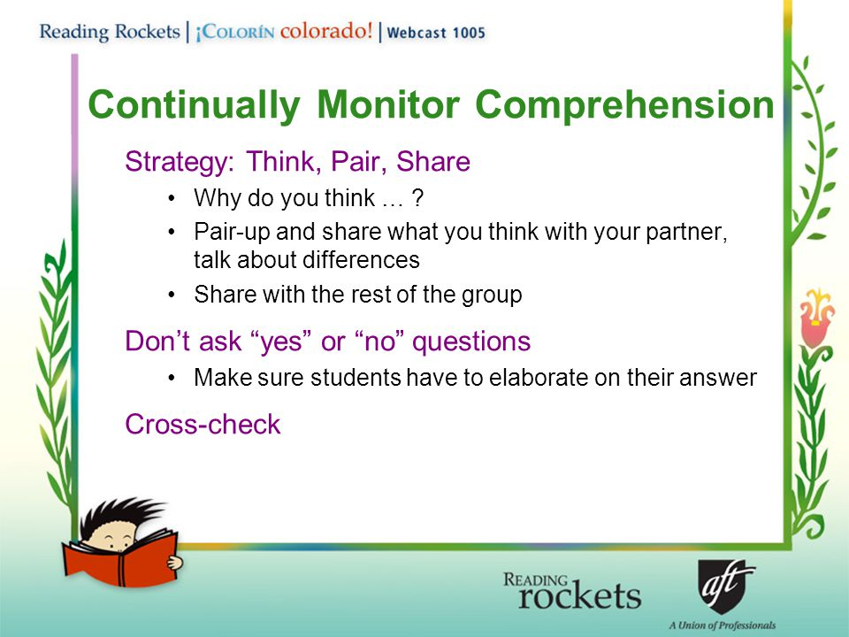 Continually Monitor Comprehension