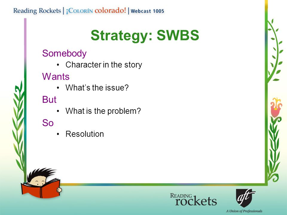 Strategy: SWBS Somebody Wants But So Character in the story