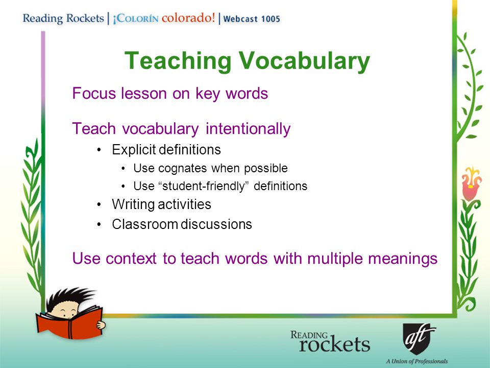 Teaching Vocabulary Focus lesson on key words