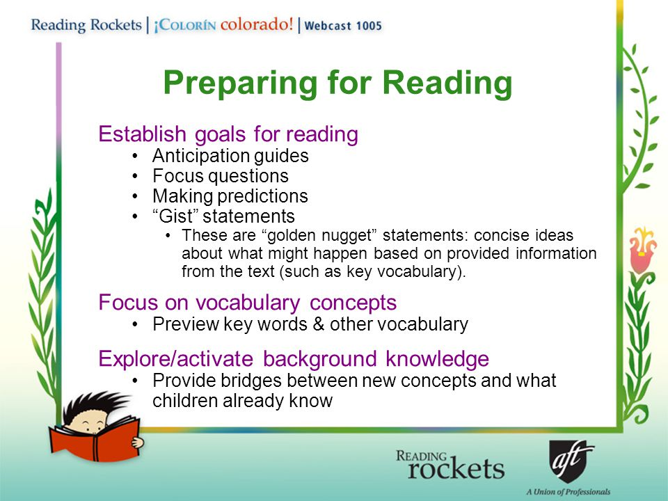 Preparing for Reading Establish goals for reading