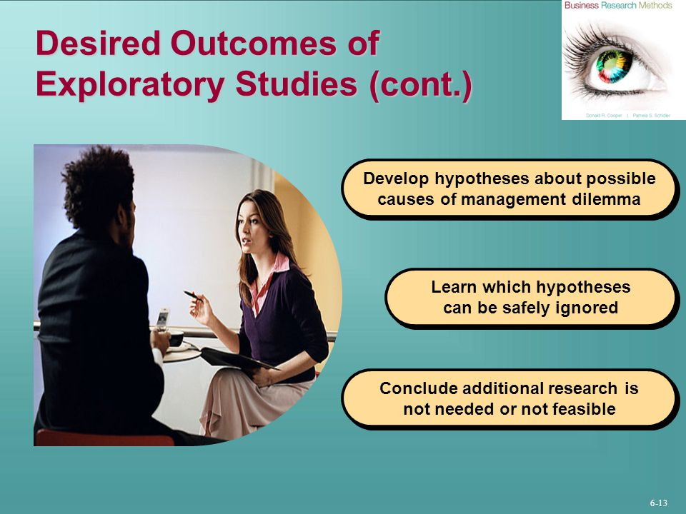 Desired Outcomes of Exploratory Studies (cont.)