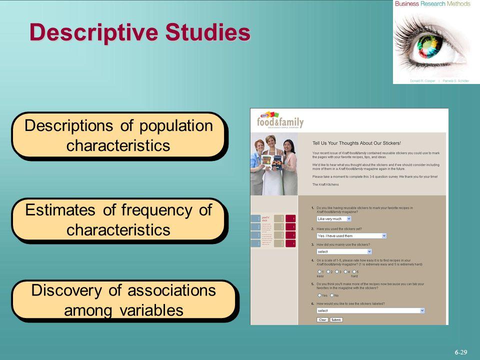 Descriptive Studies Descriptions of population characteristics