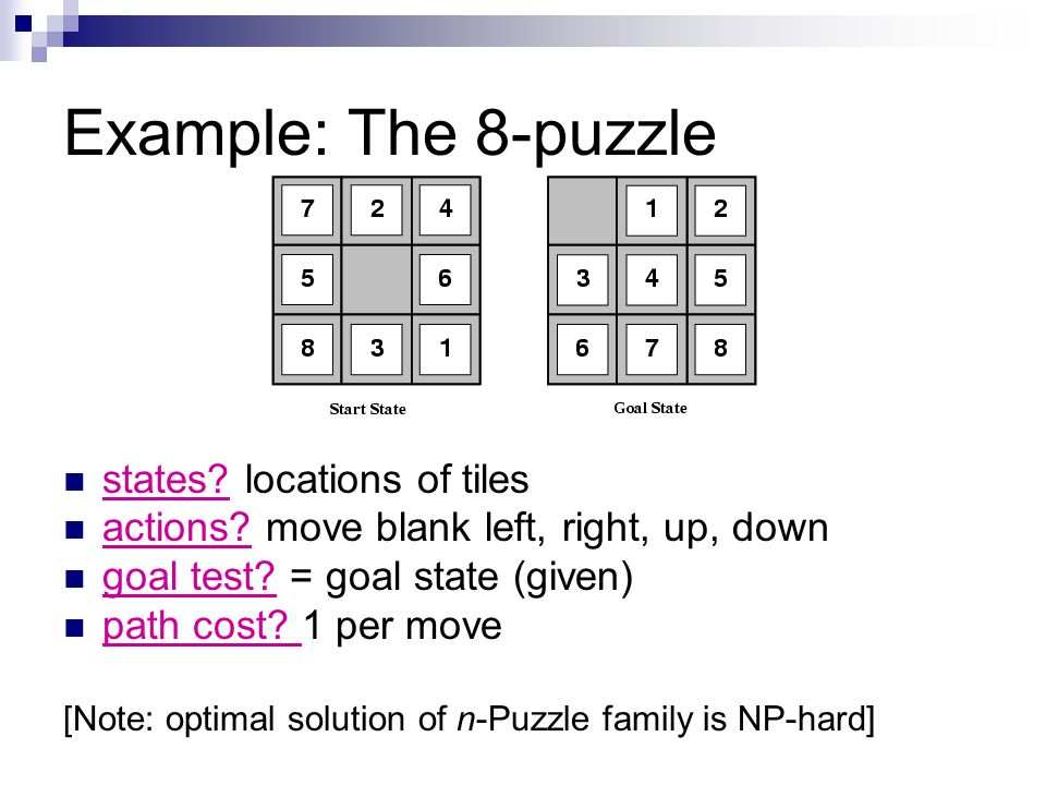 Example: The 8-puzzle states locations of tiles