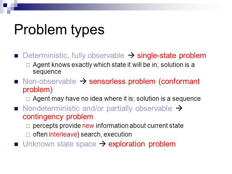Problem types Deterministic, fully observable  single-state problem