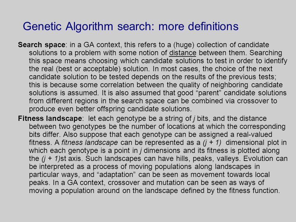 Genetic Algorithm search: more definitions