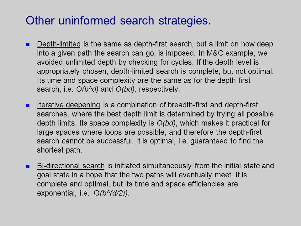 Other uninformed search strategies.