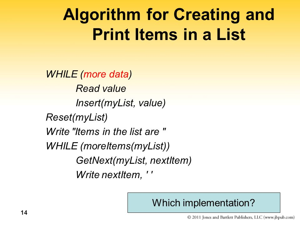 Algorithm for Creating and Print Items in a List