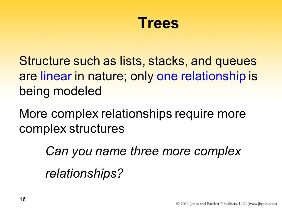 Trees Structure such as lists, stacks, and queues are linear in nature; only one relationship is being modeled.