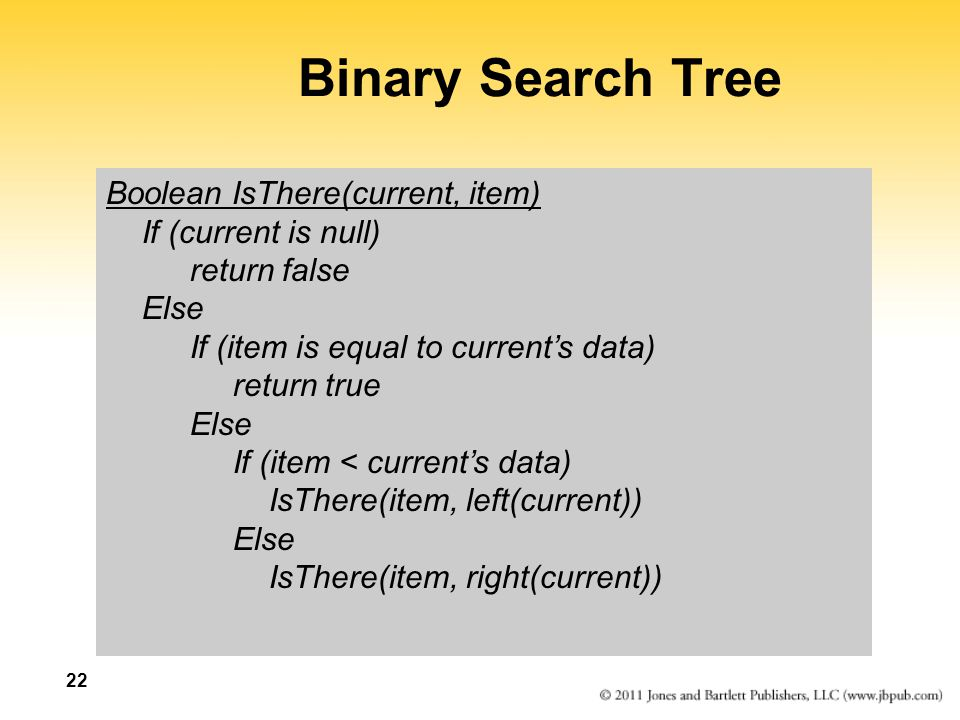 Binary Search Tree Boolean IsThere(current, item) If (current is null)