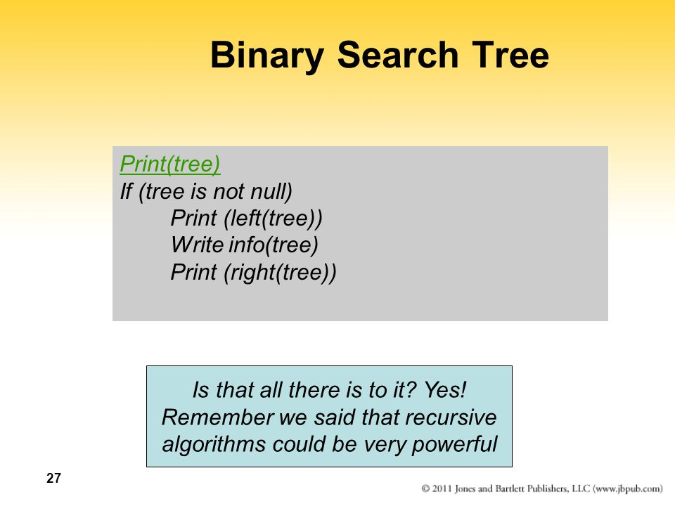 Binary Search Tree Print(tree) If (tree is not null)
