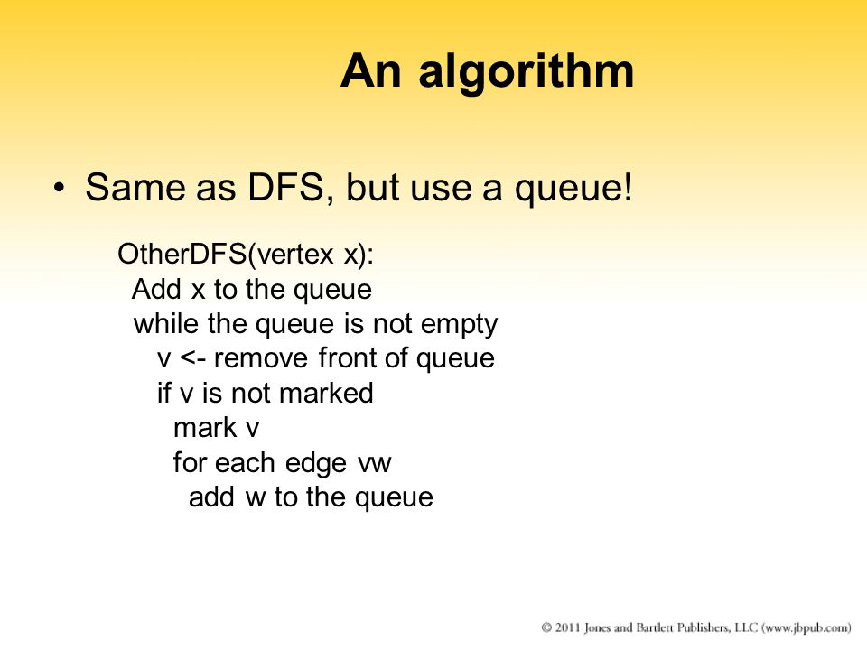 An algorithm Same as DFS, but use a queue! OtherDFS(vertex x):