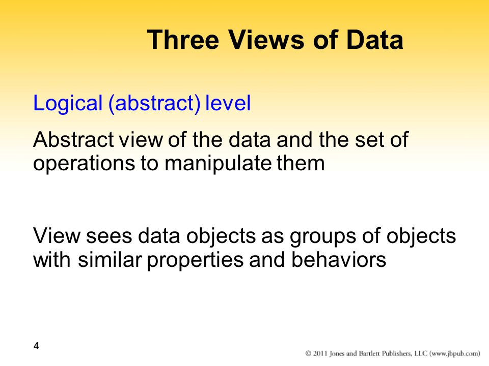 Three Views of Data Logical (abstract) level