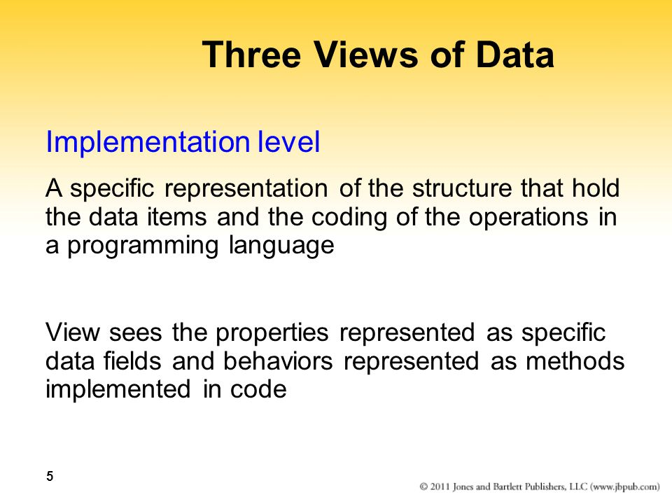 Three Views of Data Implementation level