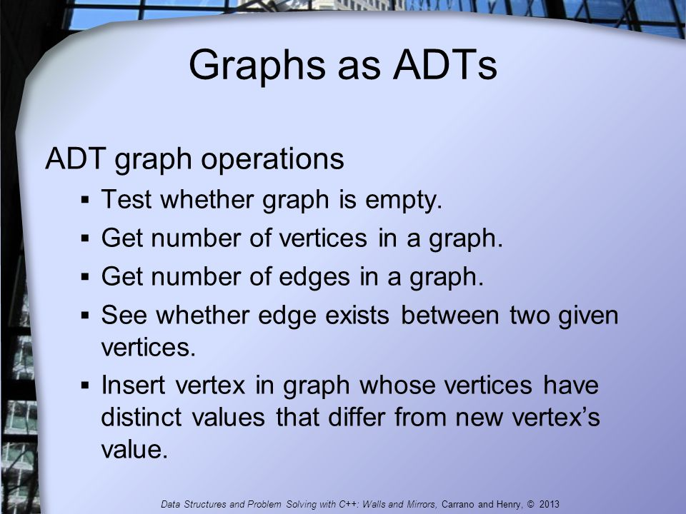 Graphs as ADTs ADT graph operations Test whether graph is empty.