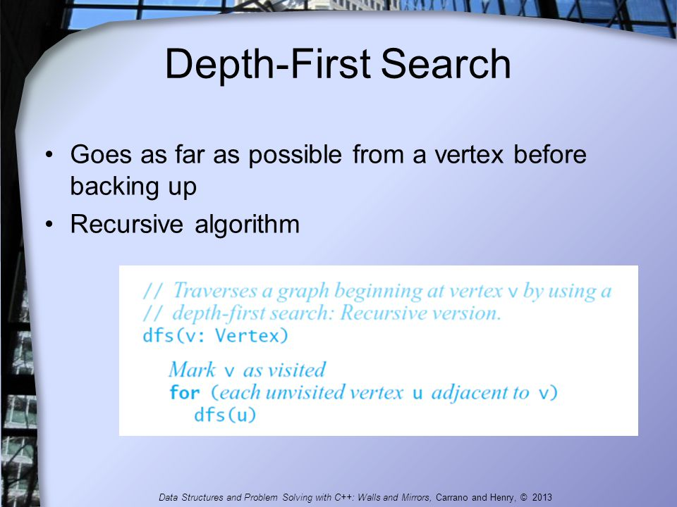 Depth-First Search Goes as far as possible from a vertex before backing up. Recursive algorithm.