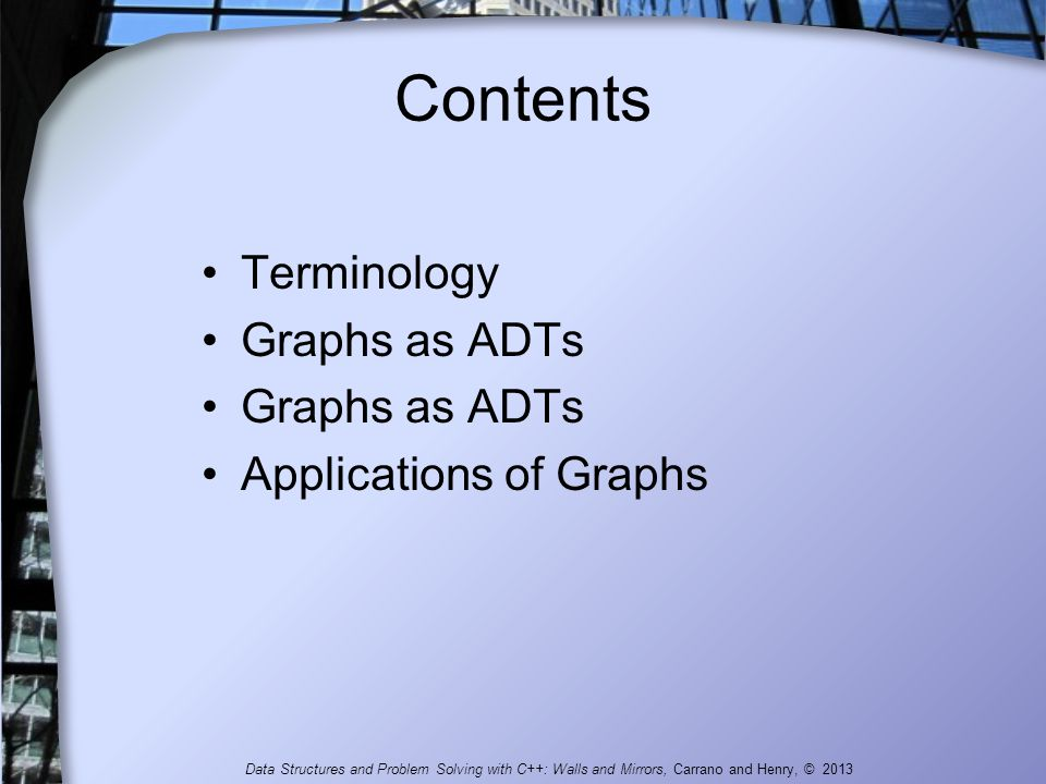 Contents Terminology Graphs as ADTs Applications of Graphs