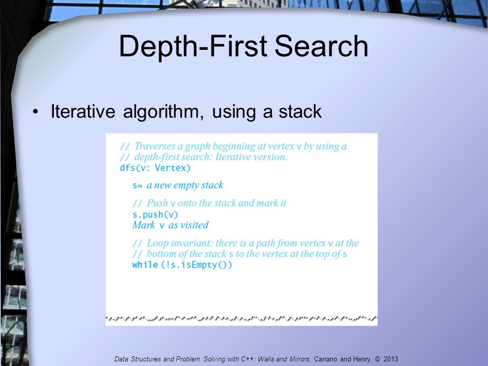 Depth-First Search Iterative algorithm, using a stack