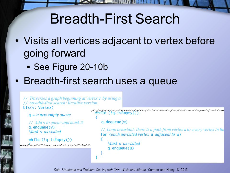 Breadth-First Search Visits all vertices adjacent to vertex before going forward. See Figure 20-10b.