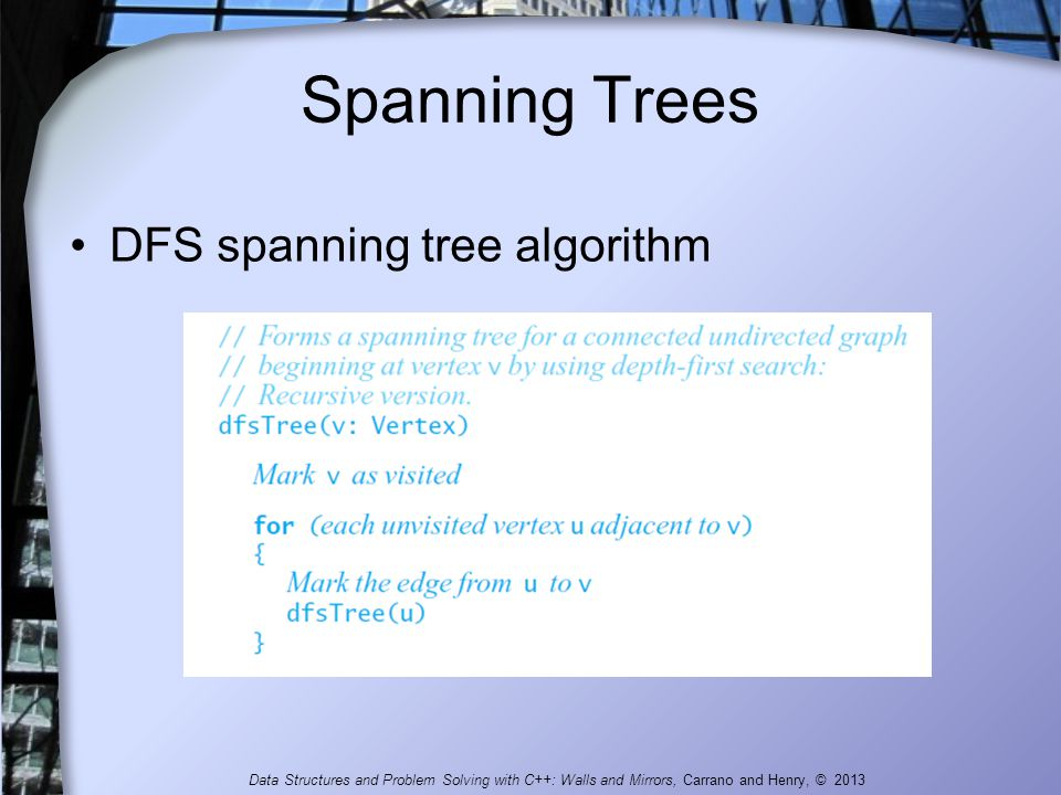 Spanning Trees DFS spanning tree algorithm