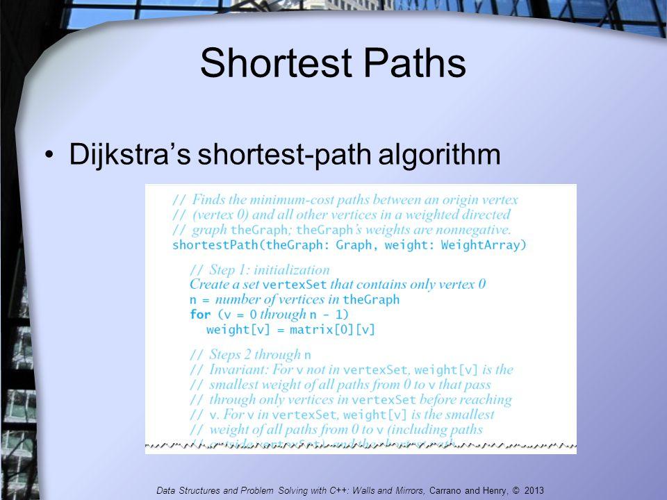 Shortest Paths Dijkstra's shortest-path algorithm