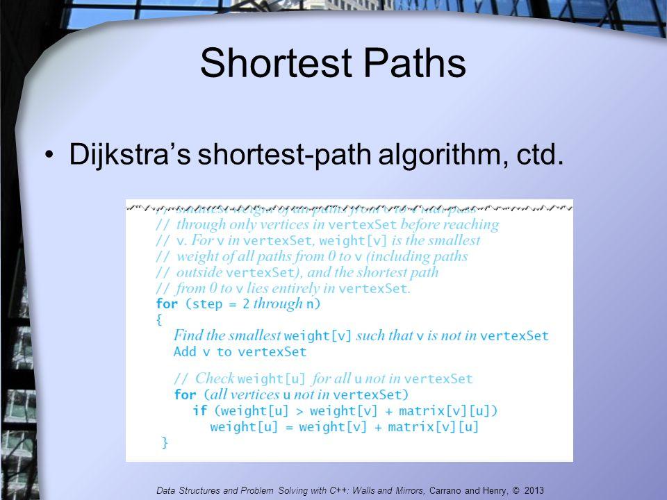 Shortest Paths Dijkstra's shortest-path algorithm, ctd.