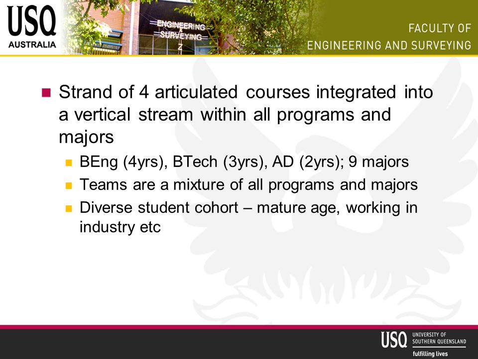 Strand of 4 articulated courses integrated into a vertical stream within all programs and majors