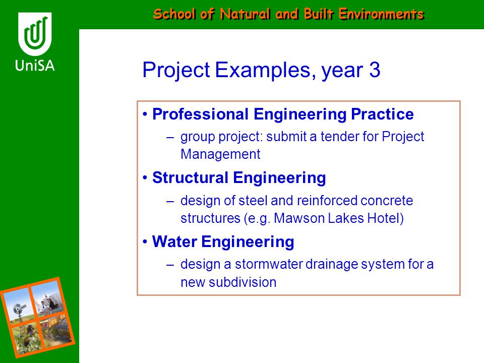 Project Examples, year 3 Professional Engineering Practice