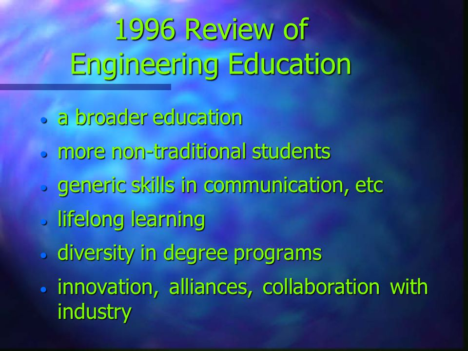 1996 Review of Engineering Education