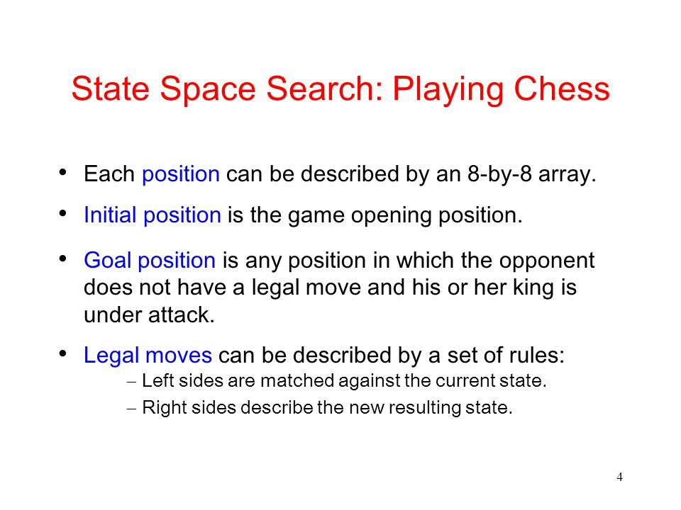 State Space Search: Playing Chess