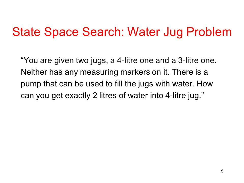 State Space Search: Water Jug Problem