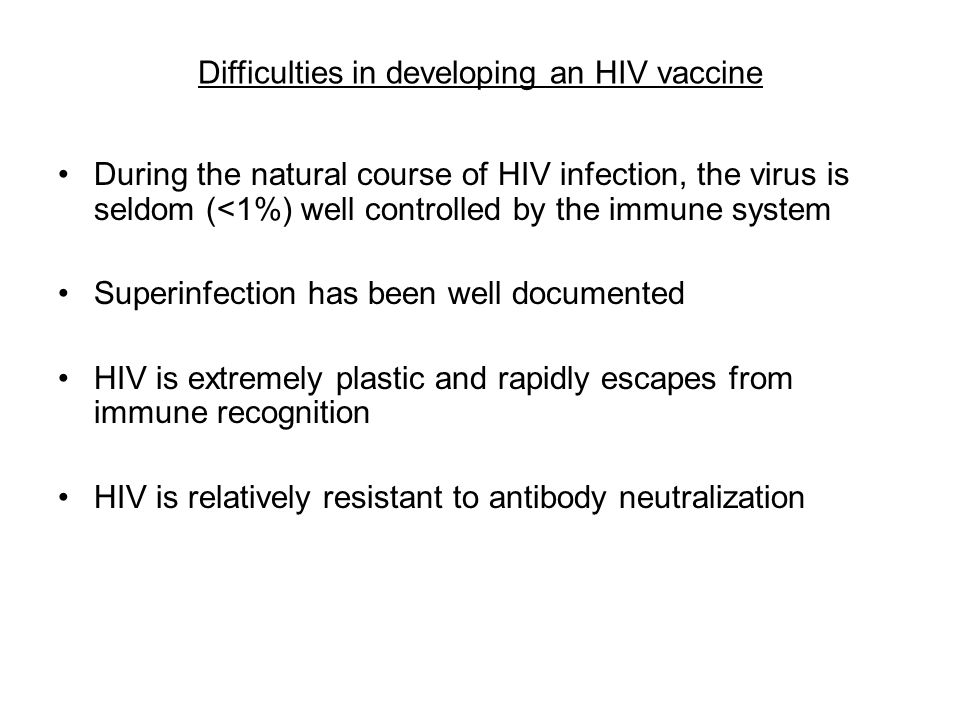 Difficulties in developing an HIV vaccine