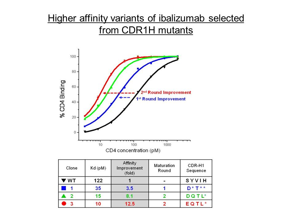 Higher affinity variants of ibalizumab selected