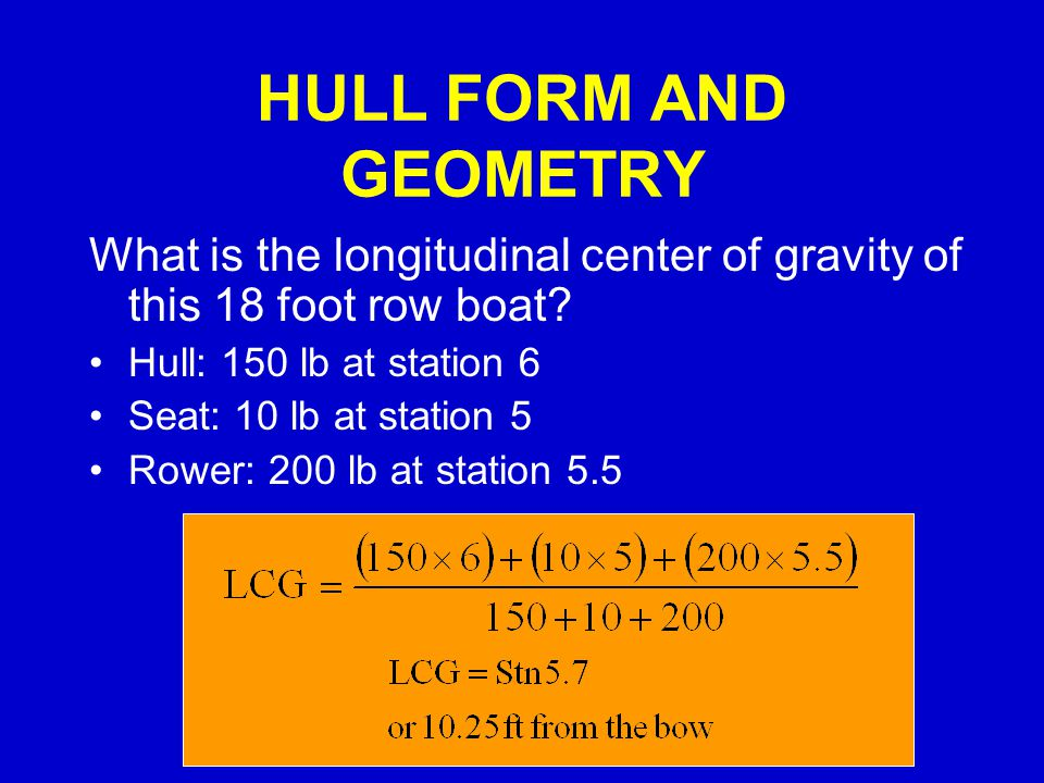 HULL FORM AND GEOMETRY What is the longitudinal center of gravity of this 18 foot row boat Hull: 150 lb at station 6.