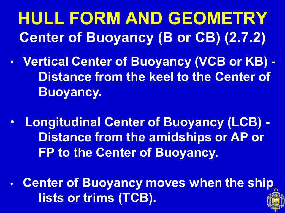Center of Buoyancy (B or CB) (2.7.2)