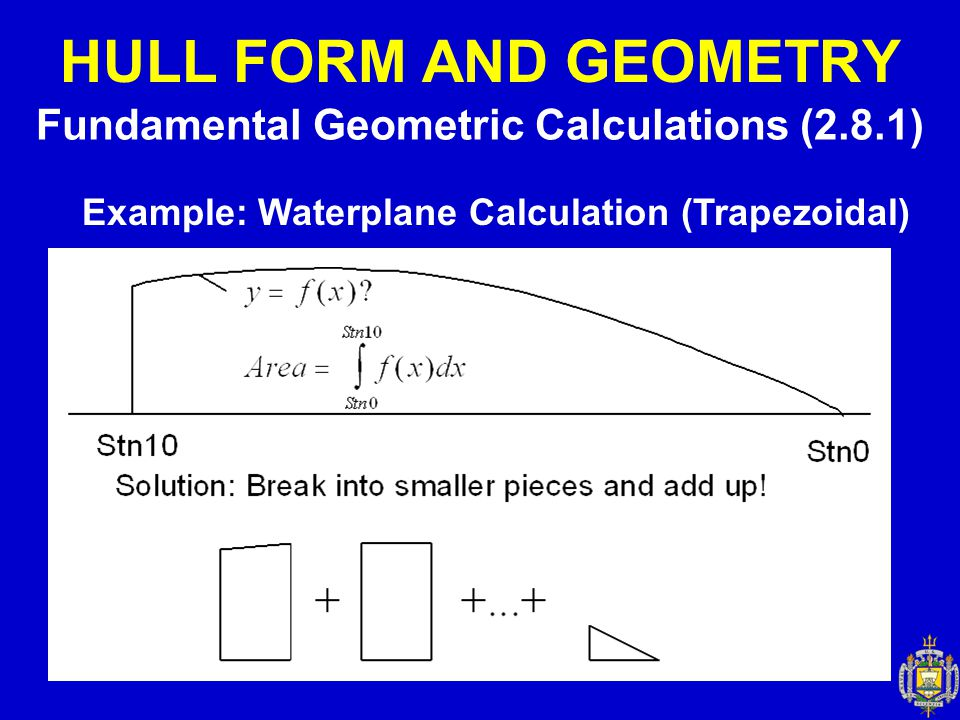 HULL FORM AND GEOMETRY Fundamental Geometric Calculations (2.8.1)
