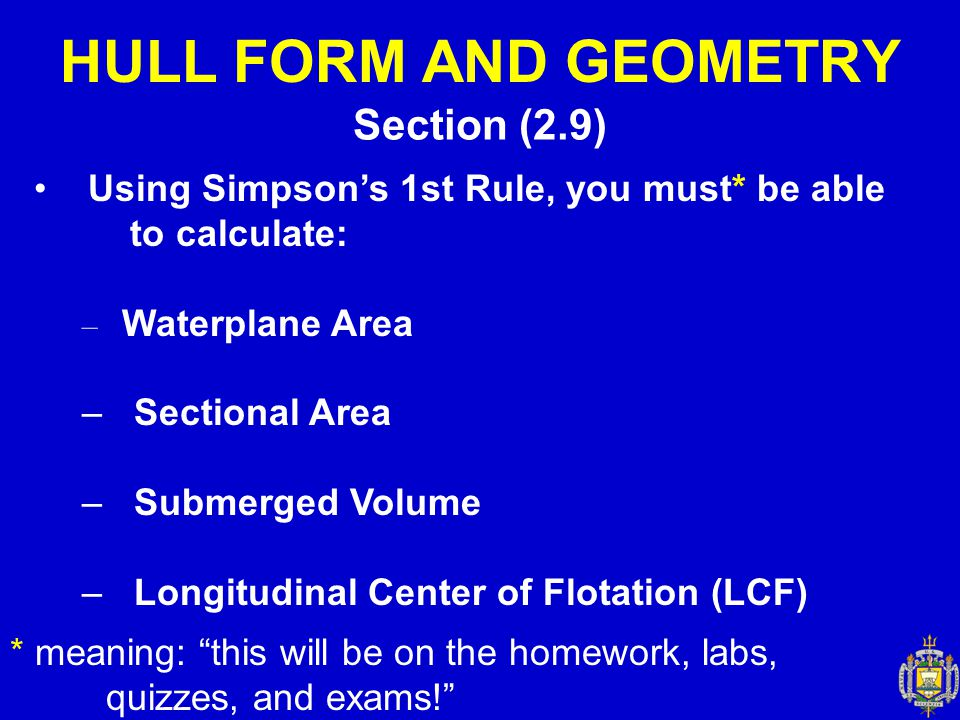HULL FORM AND GEOMETRY Section (2.9)