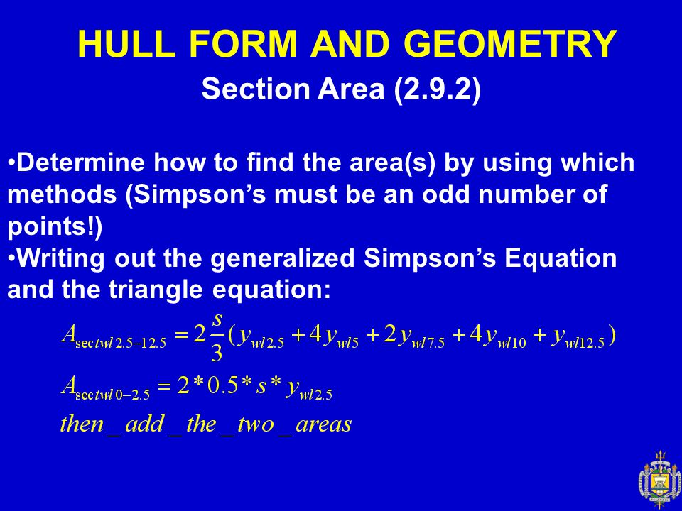 HULL FORM AND GEOMETRY Section Area (2.9.2)