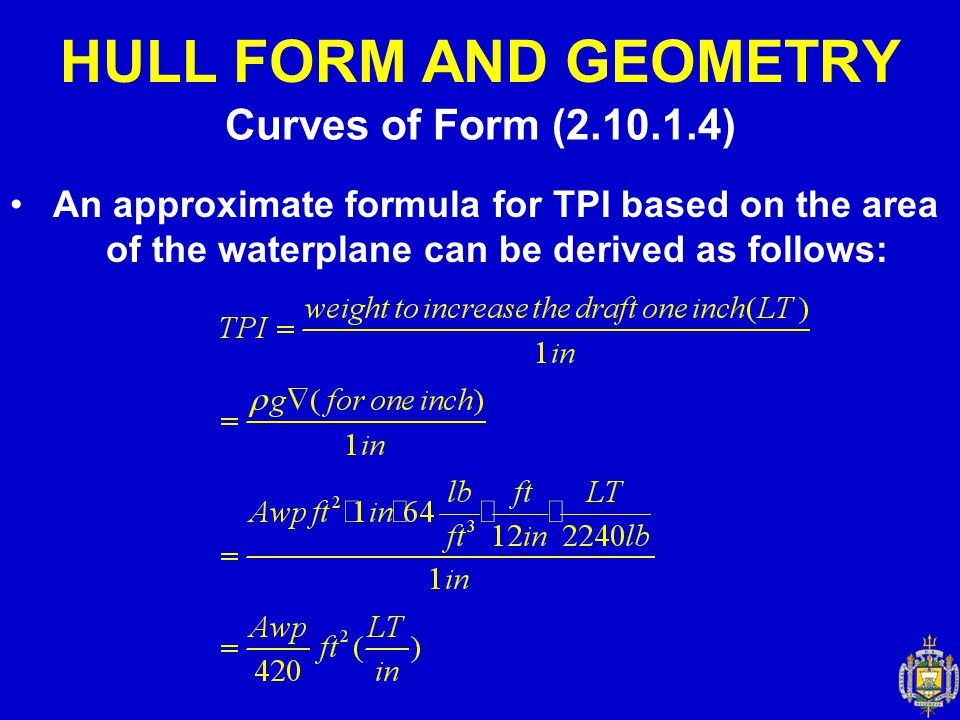 HULL FORM AND GEOMETRY Curves of Form (2.10.1.4)