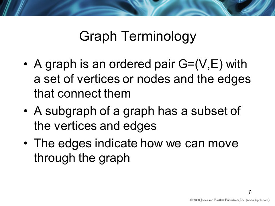 Graph Terminology A graph is an ordered pair G=(V,E) with a set of vertices or nodes and the edges that connect them.