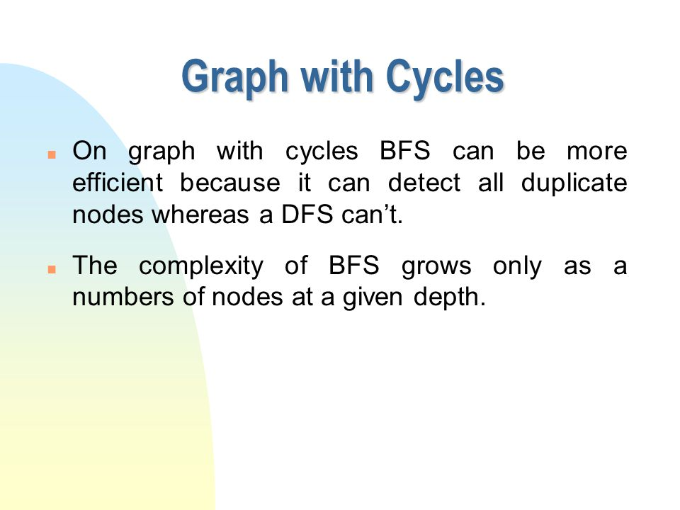 י ט/ניסן/תשע ז Graph with Cycles. On graph with cycles BFS can be more efficient because it can detect all duplicate nodes whereas a DFS can't.
