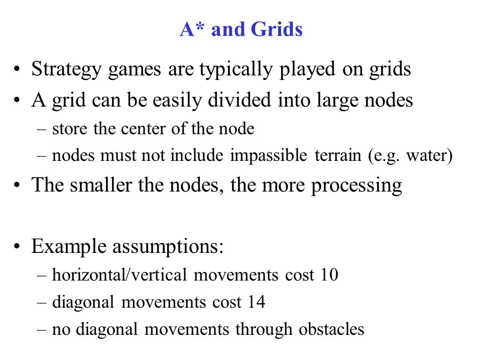 Strategy games are typically played on grids
