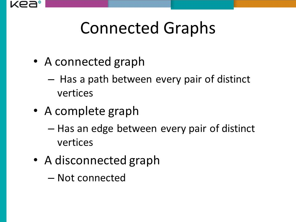Connected Graphs A connected graph A complete graph