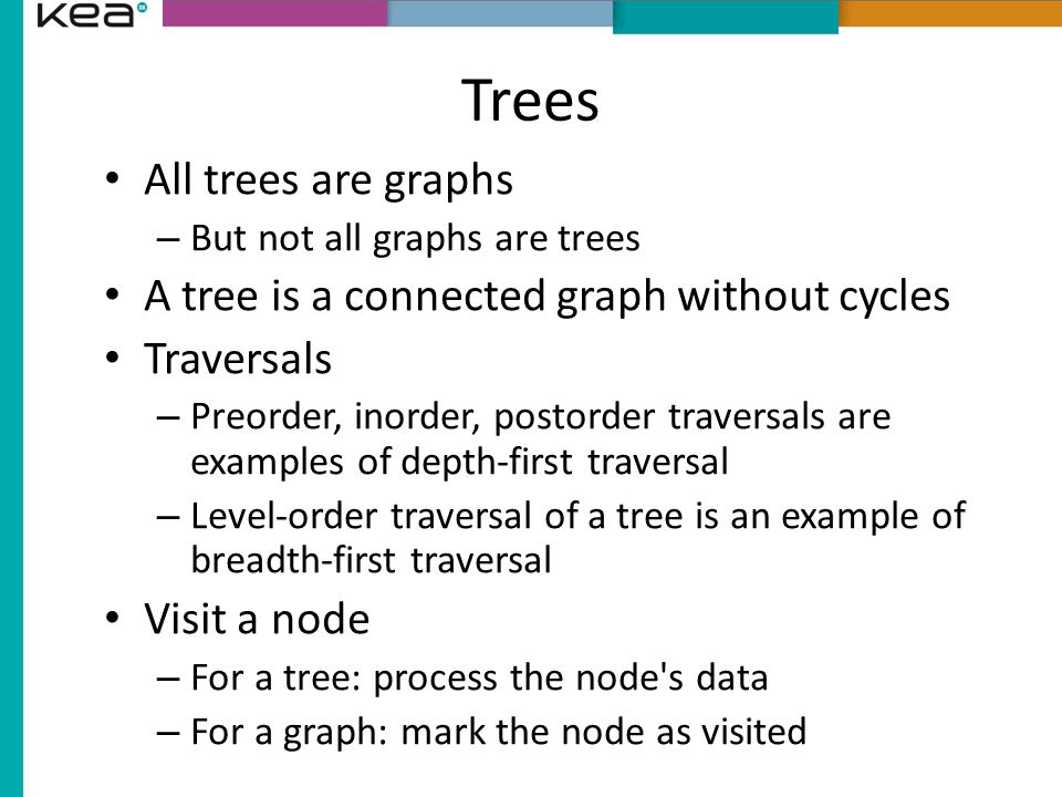 Trees All trees are graphs A tree is a connected graph without cycles