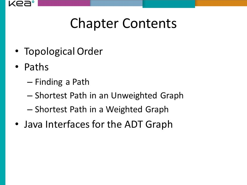 Chapter Contents Topological Order Paths