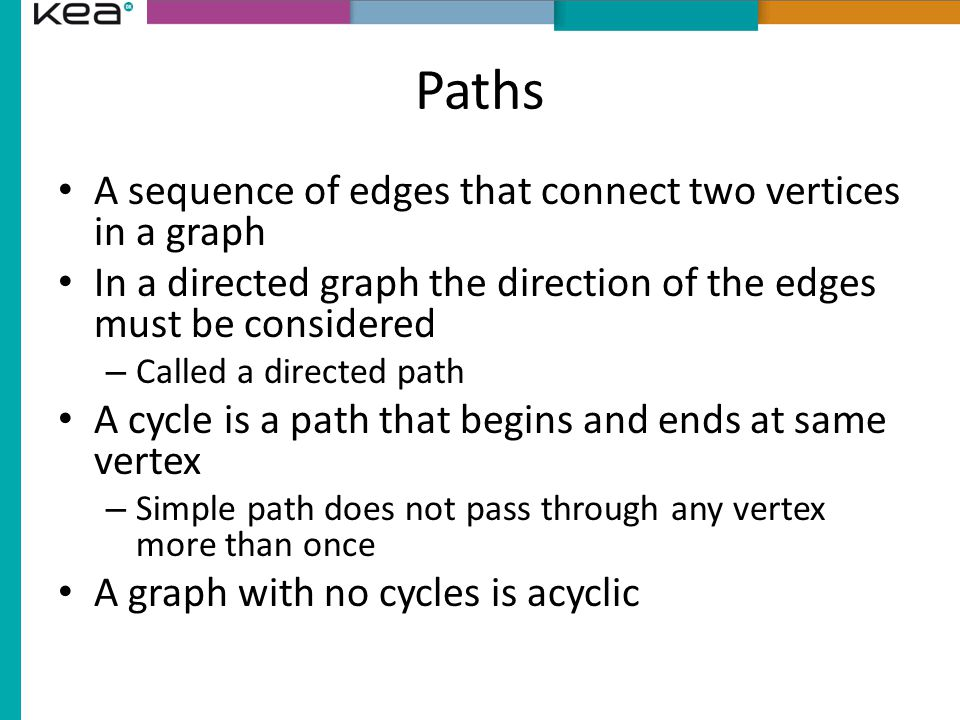 Paths A sequence of edges that connect two vertices in a graph